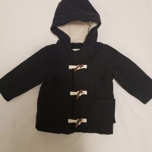 Old Navy Black Pea Coat with Hood 12-18 months
